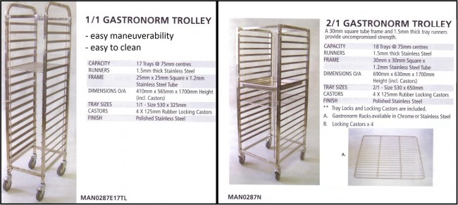 1/1 and 2/1 Food Trolleys