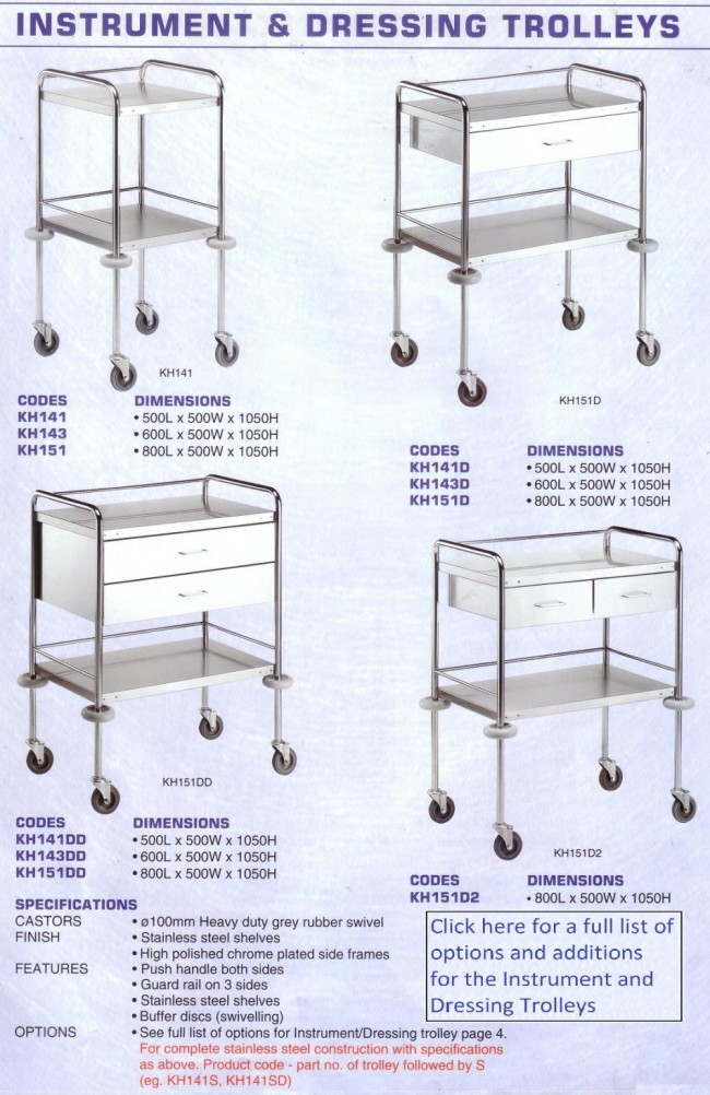 Stainless Steel Instrument and Dressing Trolley